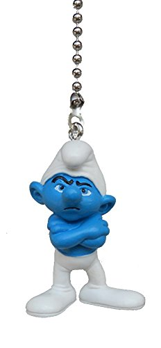 [SMURF blue movie tv cartoon character mini Figurine Ceiling FAN PULL light chain (Grouchy Smurf)] (Brainy Smurf Costume)