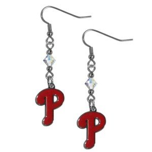 (MLB Philadelphia Phillies Crystal Dangle Earrings)
