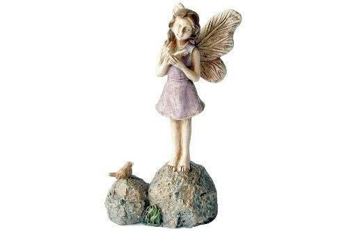 1'' Fine Fairy Friends - Miniature Figurine & Bird - Garden Mini Figure - Miniature Garden Statue - Best Outdoor Accessory