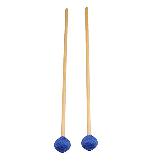 Blue Hard Mallet (BQLZR Rattan Handles and Blue Woolen Yarn Head Hard Keyboard Marimba Mallets Pack of 2)