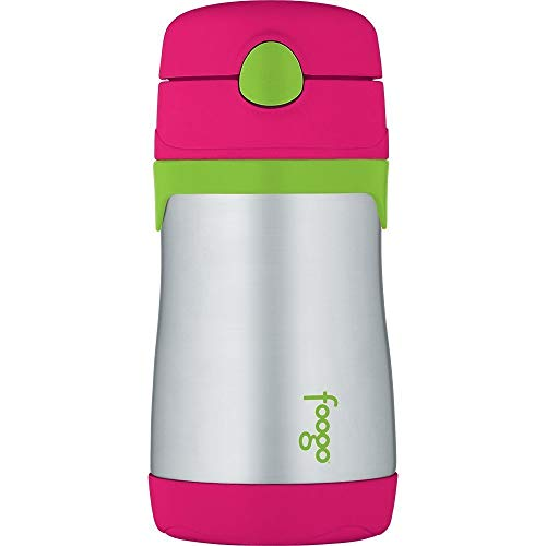 Thermos Foogo Vacuum Insulated Stainless Steel 10-Ounce Straw Bottle, Watermelon/Green