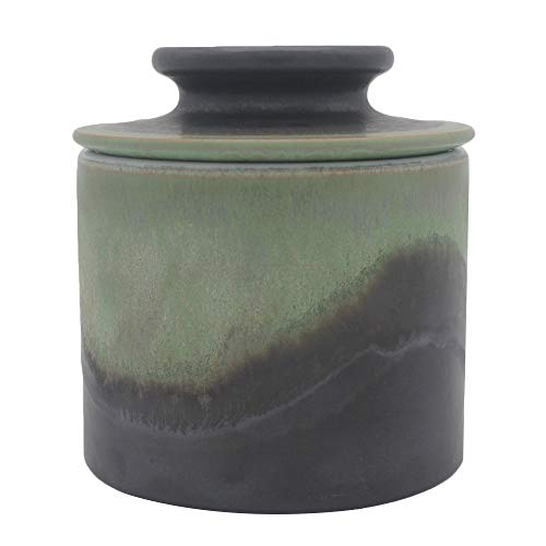 Windomere Handmade Porcelain Butter Keeper Crock - French Butter Dish - 4Ounce Capaicty,Moutain Mist