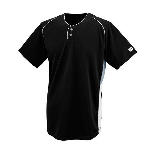 Wilson Sporting Goods Maillot de malla con doble barra y 2 botones, juvenil grande, negro