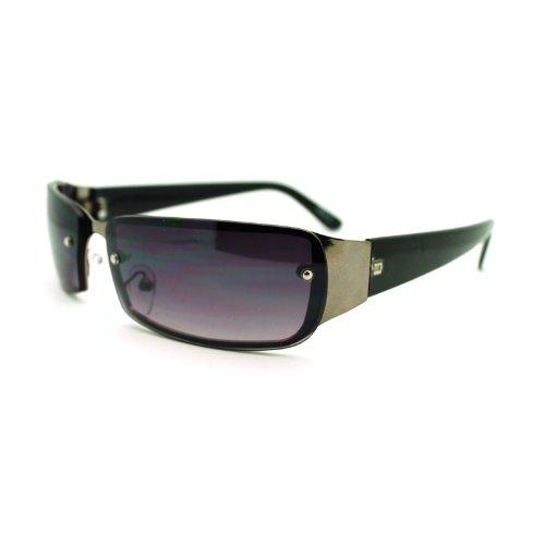 Small Narrow Rectangular Rimless Fashion Unisex Sunglasses (black, - Sunglasses Size Small