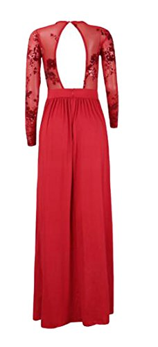 Cromoncent High Front Red Womens Sleeve Maxi Slit Dress Sequins Long Backless Waist tYYrO