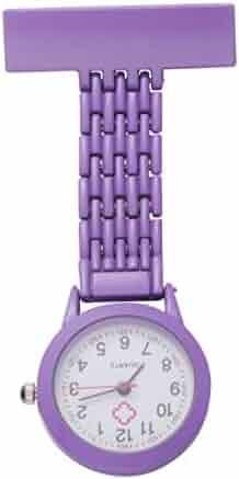 NICERIO Nurse Lapel Watch Clip on Quartz Watch Fashion Zinc Alloy Lapel Pin Watch Hanging Medical Doctor Pocket Watch