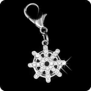 (PURELY CHARMING Pet Charm / Pendant with Handset Swarovski Crystals - Nautical Ship's Wheel)
