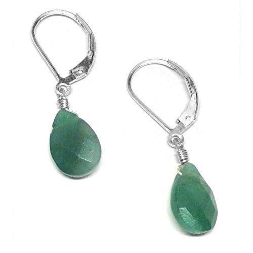 Dark Green Aventurine Briolette Lever Back Earrings Sterling Silver (Green Aventurine Briolette Earrings)