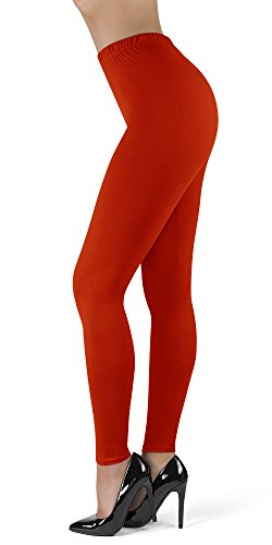 SATINA High Waisted Leggings w/Stretch Waistband (PlusSize, Red)
