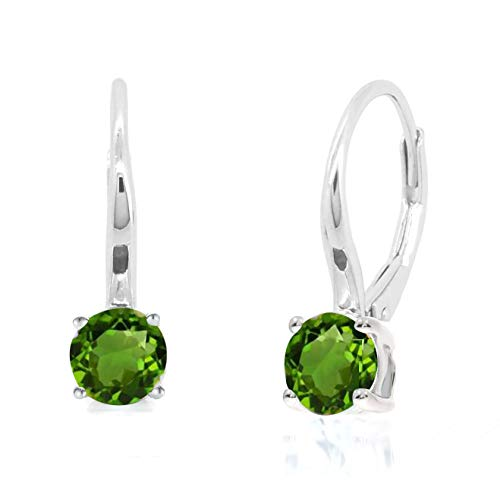 Sterling Silver Round Cut Genuine Natural Chrome Diopside Leverback Earrings Stud (4/5 CT.T.W) ()
