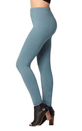 Premium Ultra Soft High Waisted Opaque Leggings for Women - Full Length - Sea Foam Blue - One Size (0-12)