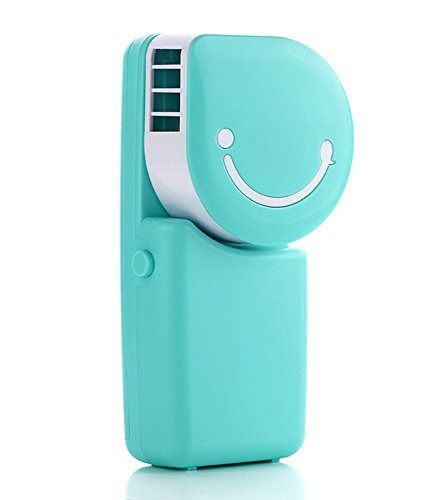 ESUMIC Portable USB Smile Air Conditioner Fan Travel Handheld Rechargeable Cooling Fan Air Purifier Humidifier for Summer Kids with USB Charging Cable(Blue)