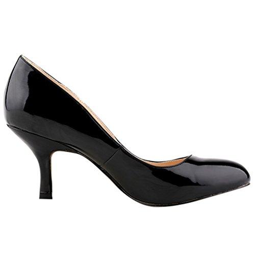 Wanyang Kitten Punta Tacco Scarpe Donna Nero Col Shoes Classiche Heel A gSrgqw