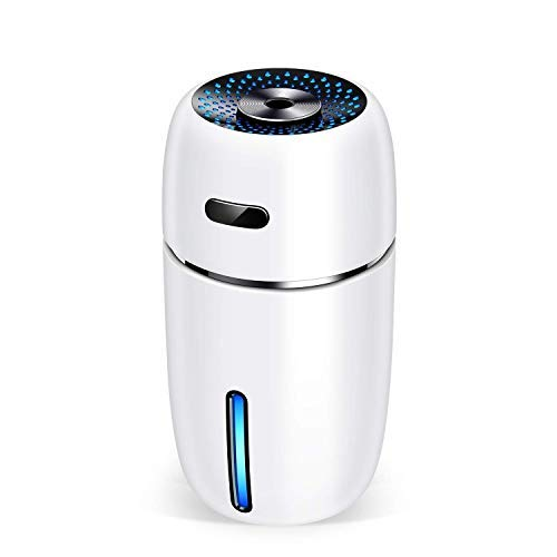 (NovoLido Portable USB Humidifier with 7 LED Warm Lights, Mini Personal Small Humidifier for Desk Travel Office Car and Bedroom with Quiet Operation, Auto Shut-Off, 200ml (White)