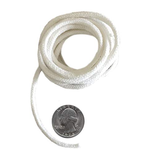 Firefly Brand - 5 Feet of 3.6mm Round Braided Eco Cotton Replacement Wick for Oil Lamps and Candles. Made In USA