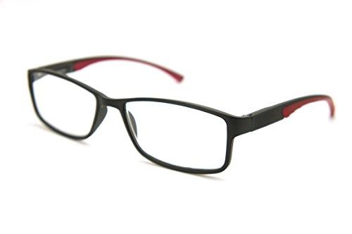 ColorViper Full-Rimless Flexie Reading double injection color Glasses NEW FULL-RIM (matte black / red -spring hinge, - Full Rim