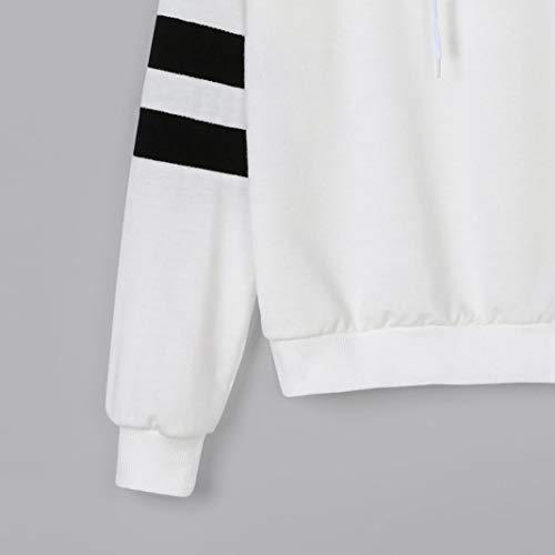 felpa Felpa manica causale con camicetta donna Moda Bianco cappuccio felpa Stampa lunga da semplice donna planetaria LQQSTORE maglione qPSp8wx