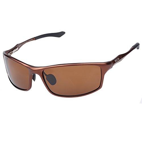 telaio da infrangibile marrone Uv400 Polarizzati Sport metallo Occhiali sole Mens in 8201 Guida con Duco 100 anti qp4Bff