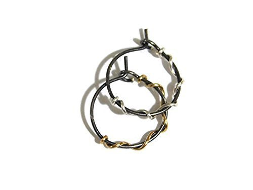 238585bbfdbaf Amazon.com: Oxidized/Black Fine Sterling Silver and Yellow Gold Wire ...