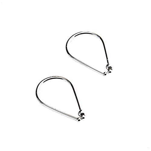 Sterling Silver Wire Drops and 1 Small Ball with 2 Lapis Lazuli Beads Horseshoe Arc Earrings