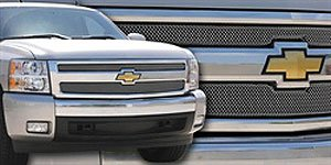 TRex Grilles 44110 Small Mesh Stainless Chrome Finish Sport Grille Overlay for Chevrolet Silverado 1500 - Wide Style Grille