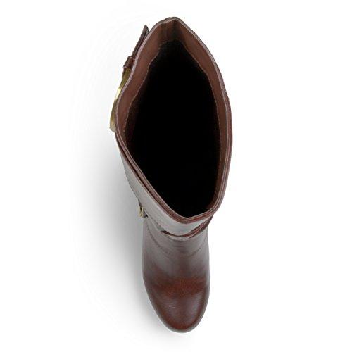 Brown Boots Buckle Tall Leather Faux Brinley cJv0XnAd6q Womens OqZwz0