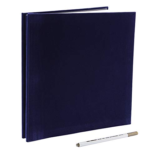 Self Adhesive Photo Album Magnetic Scrapbook Album 40 Pages Flannel Hardcover Length 11 x Width 10.6 (inches) with A Metallic Pen and Photo Album Storage Box DIY Accessories Kits (Blue)