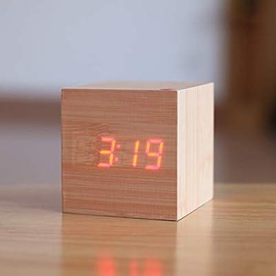 RTMN Reloj Despertador Cubo Reloj Despertador de Madera Escritorio ...