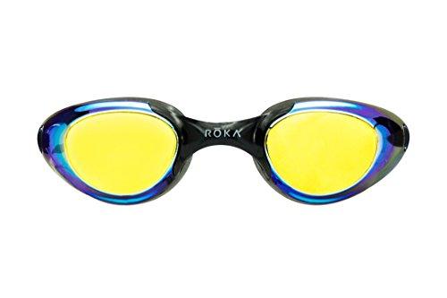 5a1a81380bd ROKA F2 Anti-Fog Low-Drag Mirror Swim Goggles - Medium Sized - Amber