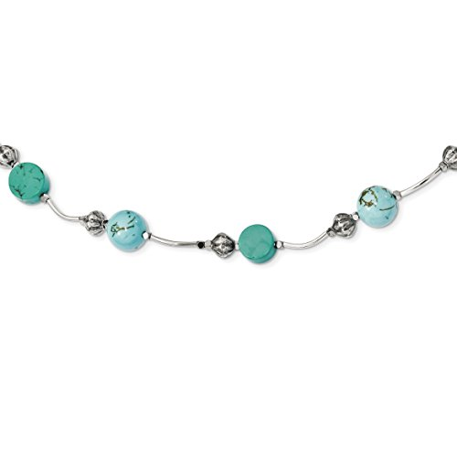 ICE CARATS 925 Sterling Silver Hematite/recon. Blue Turquoise Magnesite 2 Inch Extension Chain Necklace Natural Stone Fine Jewelry Gift Set For Women Heart by ICE CARATS