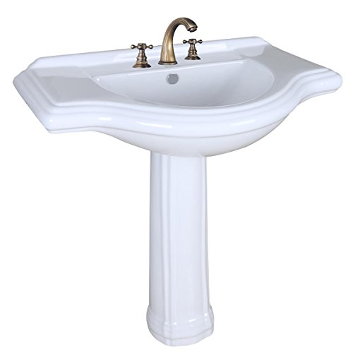 Large Pedestal Sink White Vitreous China 34