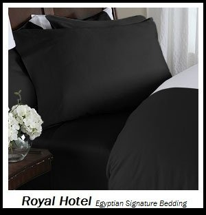 Royal's Solid Black 800-Thread-Count 3pc King Duvet-Cover 100-Percent Egyptian Cotton, Sateen Solid
