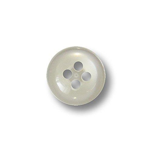 Knopfparadies - 50er Set kleine, schüsselartig nach innen gewölbte Vierloch Blusen o. Hemden Knöpfe in Perlmutt Optik mit erhöhtem Rand / perlmuttartig weiß / Kunststoffknöpfe / Ø ca. 10mm
