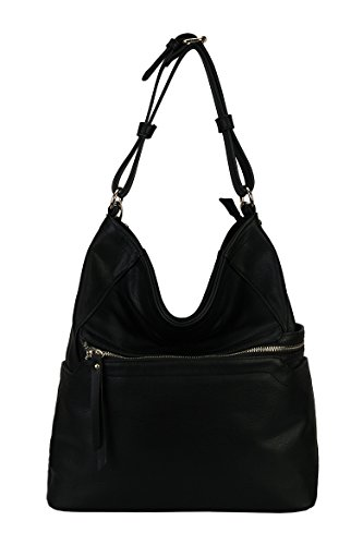 rimen-co-pu-leather-simpilicity-front-zipper-causal-hobo-womens-purse-handbag-jq-1864-black