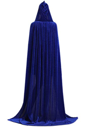 ALIZIWAY Hooded Cloak Full Long Velvet Cape for Halloween Cosplay Costume Cloak Blue 06EL ()