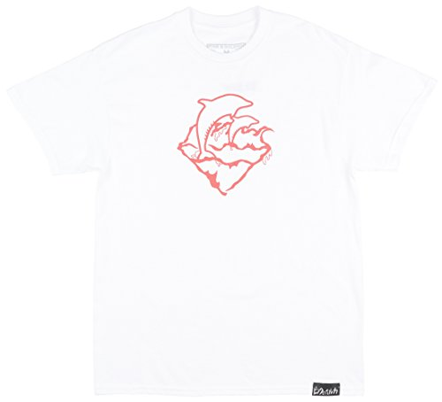 Pink Dolphin Wave Emblem Mens T-Shirt In White/Salmon (Shirts Dolphin Pink Mens)