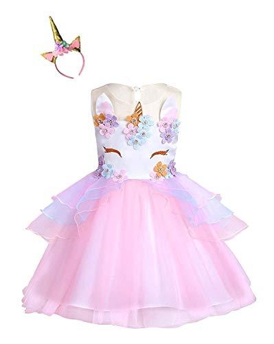 Kokowaii Fancy Girls Unicorn Dress up Fancy Costume for Pageant Party -