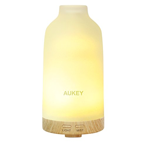 AUKEY Essential Oil Diffuser, 100ml Portable Ultrasonic Aromatherapy Diffuser, LED with 7 Color Options, 2 Mist Modes, Auto Shut Off