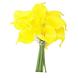 "Sweet Home Deco Latex Real Touch 15"" Artificial Calla Lily 10 Stems Flower Bouquet for Home/Wedding 3"