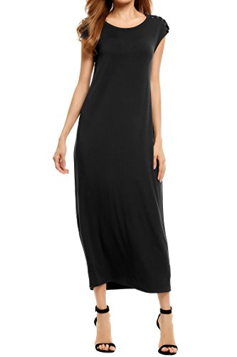 Meaneor Women's Casual Loose Comfy Lace Up Sleeve Plain Long Maxi Dress