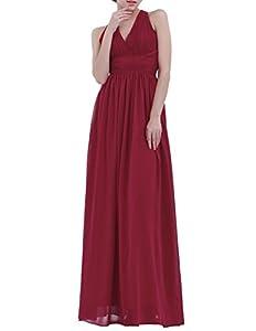 iiniim Women's Chiffon Halter V Neck Bridesmaid Long Dress Evening Party Prom Gown