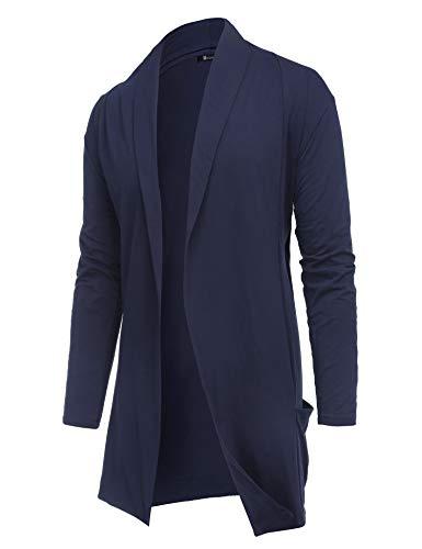 RAGEMALL Men's Cardigan Ruffle Shawl Collar Cardigan Open Front Blend Long Length Drape Cape Overcoat Navy Blue_L