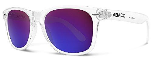 Abaco Laguna Sunglasses Crystal Clear Frame Polarized Purple Mirror - Sunglasses Laguna