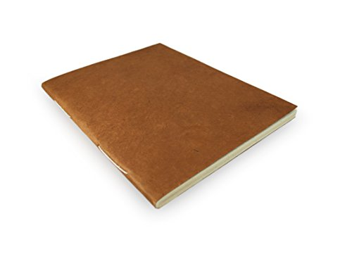 Nepali Companion Notebook with Handmade Paper and Vegetable-Dyed Cover. Made in Nepal (Large, Terra Cotta)
