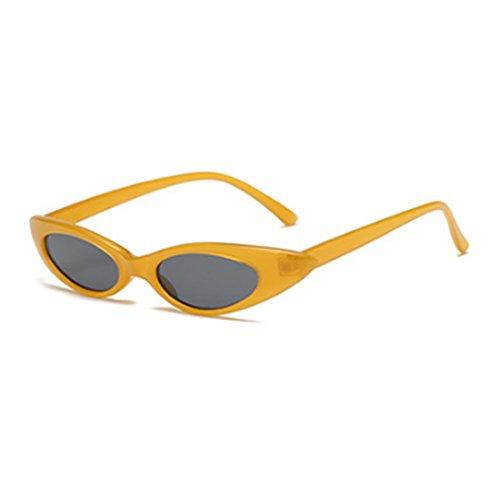 Oval Amarillo Gris mujeres Inlefen de Hombres de Negro pequeñas Cat Designer Gafas sol Gafas y sol vintage 066Fqp