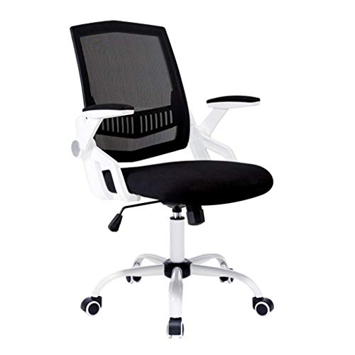 NBgy Video Game Chairs E-Sports Chair, Computer Chair, Handrail Upturn and Swivel Lift, Suitable for Small Space Use, Study Lift Chair, Game Chair, 2 Colors, (Height: 92-100cm) (Color : White) -