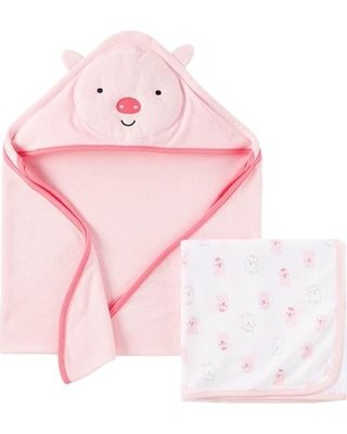 Just One You Made By Carter's Newborn Girls' Bear Hooded Bath Towel - Pink
