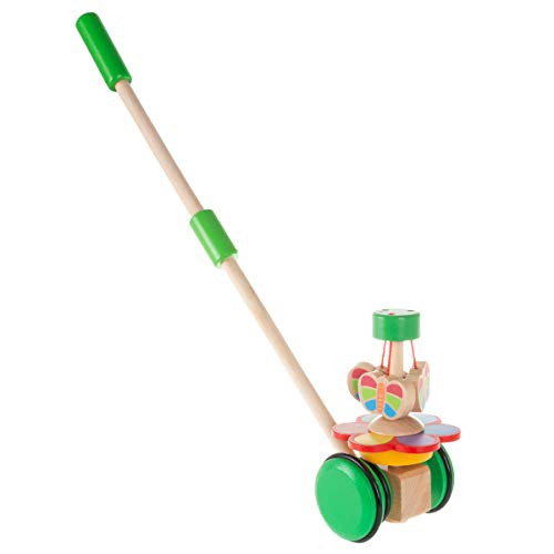 Hey! Play! Wooden Push & Pull Toy – Old Fashioned Walk Along Butterflies with Handle for Indoor & Outdoor Play – Preschool, Babies & Toddlers 80-Z0017101002