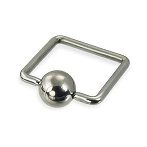 MsPiercing Square Captive Bead Ring, 18 Ga (Captive Ring Bead Square)