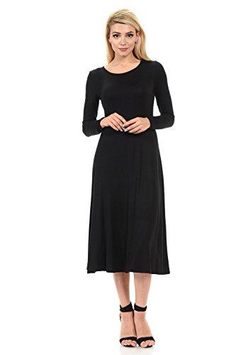 Long Sleeve A-Line Midi Dress Small Black ()
